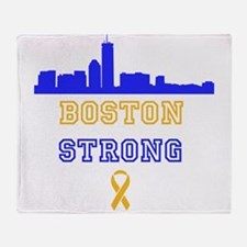 Boston Strong Skyline Blue and Gold Throw Blanket