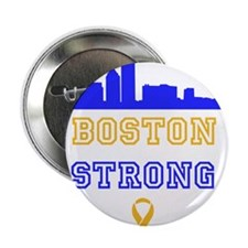 """Boston Strong Skyline Blue and Gold 2.25"""" Button ("""