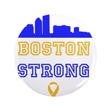 """Boston Strong Skyline Blue and Gold 3.5"""" Button"""