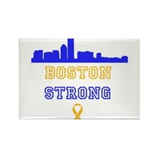Boston Strong Skyline Blue and Gold Rectangle Magn