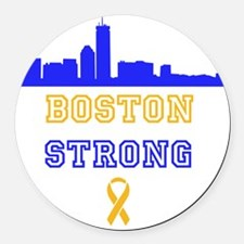 Boston Strong Skyline Blue and Gold Round Car Magn