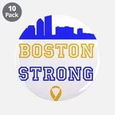 """Boston Strong Skyline Blue and Gold 3.5"""" Button (1"""