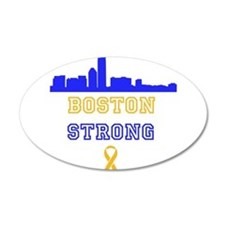 Boston Strong Skyline Blue and Gold Wall Decal