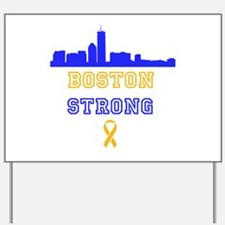 Boston Strong Skyline Blue and Gold Yard Sign