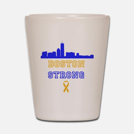 Boston Strong Skyline Blue and Gold Shot Glass
