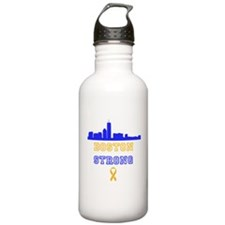 Boston Strong Skyline Blue and Gold Water Bottle