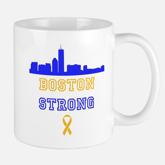 Boston Strong Skyline Blue and Gold Mug