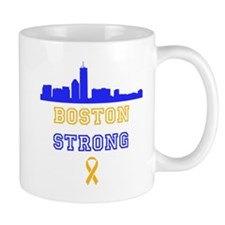 Boston Strong Skyline Blue and Gold Mug