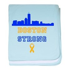 Boston Strong Skyline Blue and Gold baby blanket