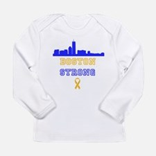 Boston Strong Skyline Blue and Gold Long Sleeve T-