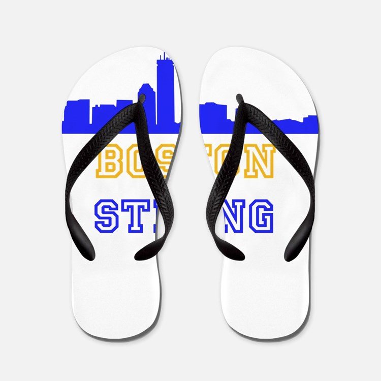 Boston Strong Skyline Blue and Gold Flip Flops