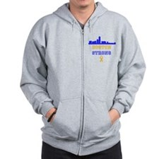 Boston Strong Skyline Blue and Gold Zip Hoodie