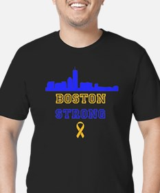 Boston Strong Skyline Blue and Gold T-Shirt