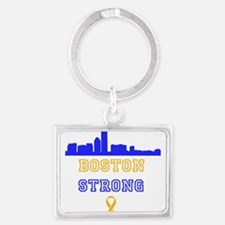 Boston Strong Skyline Blue and Gold Keychains