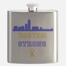 Boston Strong Skyline Blue and Gold Flask