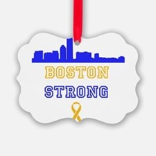 Boston Strong Skyline Blue and Gold Ornament