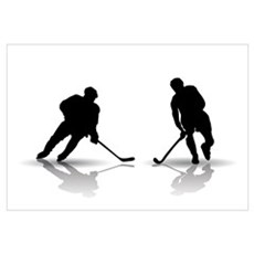 Hockey Players Silouettes Canvas Art