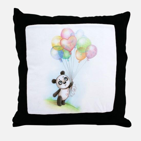 Panda and balloons Throw Pillow