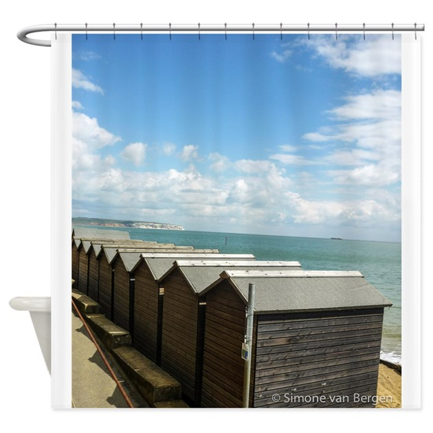 Isle Of Wight Beach Huts Shower Curtain By SimonevanBergen