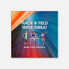 """Women's Track and Field Slogan Square Sticker 3"""" x"""