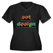 3-set design.psd Women's Plus Size V-Neck Dark T-S
