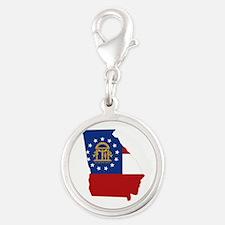 Georgia Flag Silver Round Charm
