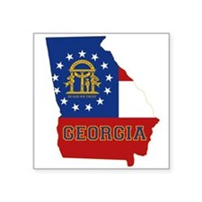 "Georgia Flag Square Sticker 3"" x 3"""