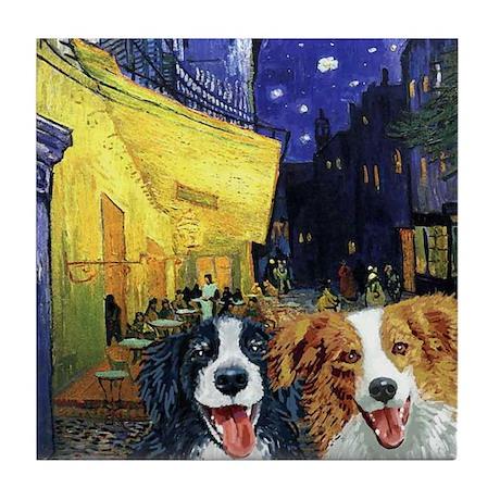 Cafe Dogs Tile Coaster