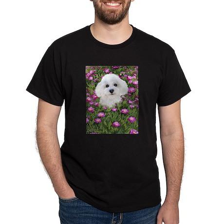 Bichon in Flowers Dark T-Shirt