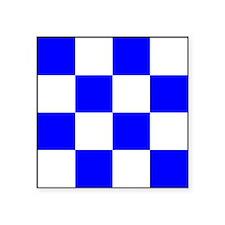 """November Blue and White Check Square Sticker 3"""" x"""