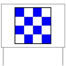 November Blue and White Check Yard Sign