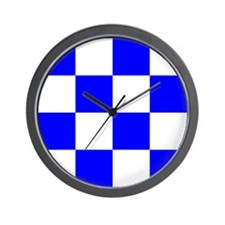 November Blue and White Check Wall Clock