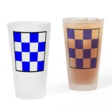 November Blue and White Check Drinking Glass