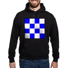 November Blue and White Check Hoodie