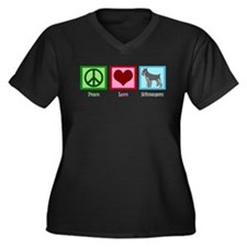 Peace Love Schnauzers Women's Plus Size V-Neck Dar