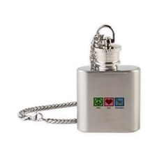 Peace Love Schnauzers Flask Necklace