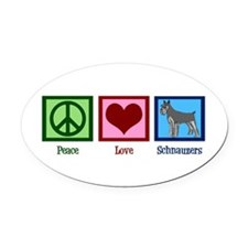 Peace Love Schnauzers Oval Car Magnet