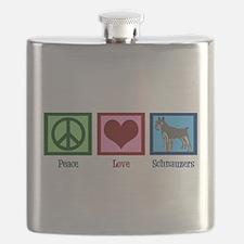 Peace Love Schnauzers Flask