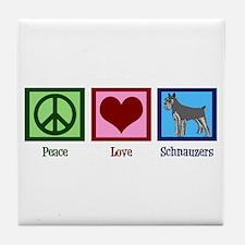 Peace Love Schnauzers Tile Coaster