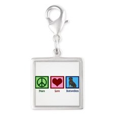 Peace Love Rottweilers Silver Square Charm
