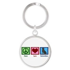 Peace Love Rottweilers Round Keychain