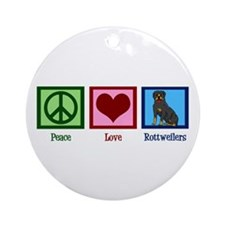 Peace Love Rottweilers Ornament (Round)