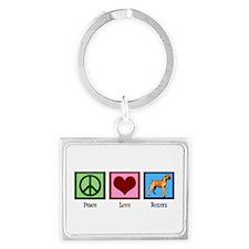 Peace Love Boxers Landscape Keychain