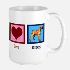 Peace Love Boxers Large Mug