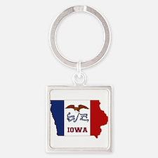 Iowa Flag Square Keychain