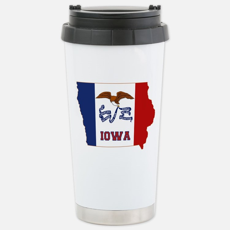 Iowa Flag Stainless Steel Travel Mug