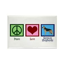 Peace Love German Shepherds Rectangle Magnet