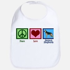 Peace Love German Shepherds Bib