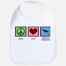 Peace Love German Shepherds Bib
