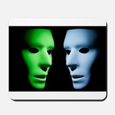 Green and Blue Aliens Face to Face Mousepad